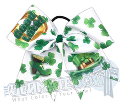 Good Luck Shamrocks Cheer Bow | Green with Envy Cheer Bow | Good Luck Horseshoe Cheer Bow
