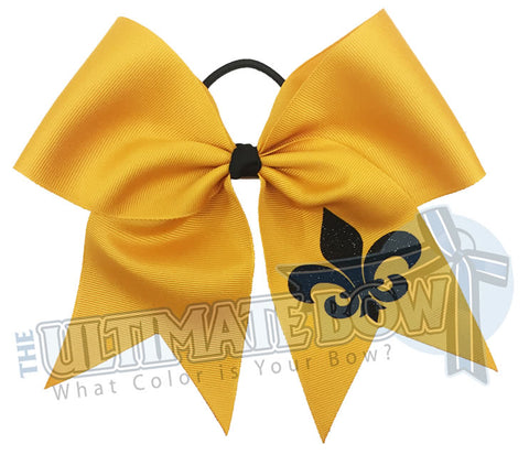 fleur de lis glitter cheer bow - fleur de lis cheer bow - mardi gras bow - cheerleading hair bow - Saints cheer bow - New Oreans hair bow
