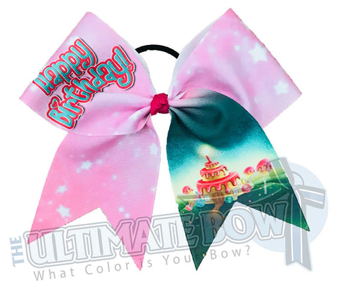 Happy Birthday Cheer Bow | Happy Birthday Cake Castle | Happy Birthday Hair Bow | Pink Teal Birthday Bow