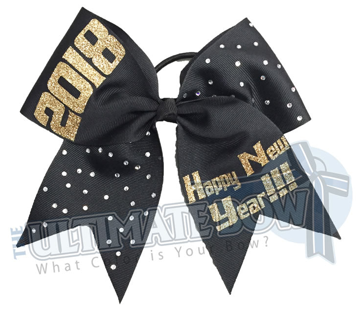 Happy-New-Year-2018-cheer-bow-softball-bow-rhinestone-black-gold