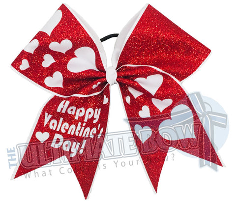 Happy Valentines Day - Full Glitter Cheer Bow