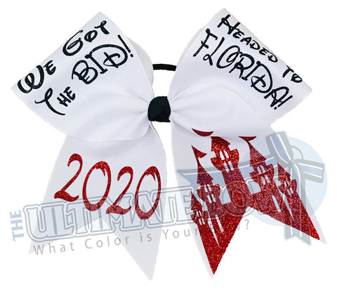 Headed to Florida Cheer Events | We got the Bid - We got paid - Full-glitter-cheer-bow-red-white-glitter-sparkle-minnie-disney - Orlando Travel Bow | 2020