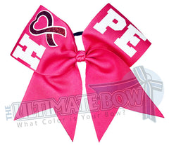 High Hopes cheer bow | Breast Cancer Awareness Bow | PINK Cheer Bow | HOPE-breast-cancer-awareness-cancer-pink-pink ribbon