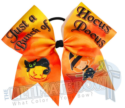 Hocus Pocus Halloween Hair Bow | Halloween themed cheer bow | Little Witch Black Cat Cheer Bow