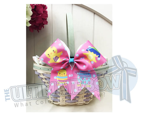 Easter Hair Bow | Cute Chick Easter Cheer Bow | Pink and Turquoise Cheer Bow | Easter Chicks | Easter Basket