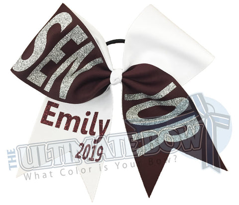 Senior-year-class-2019-Tick Tock-glitter-personalized-cheer-bow-softball-bow-practice-bow-cheerleading-graduation-maroon-white-silver glitter