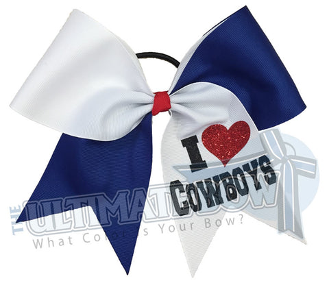 I Love My Mascot - Team Spirit Cheer Bow - Raise School Spirit - Booster Club Bow - I Love Cowboys - glitter-personalized-cheer-bow-softball-bow-practice-bow
