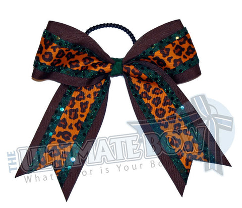 jungle-fever-sequin-dot-cheer-bow-brown-forest-green-orange-big-cat-ribbon