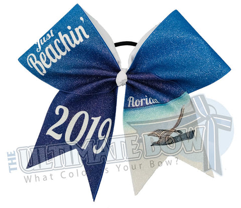 Just Beachin' Florida 2019 Cheer Bow | Sublimated Glitter Bow