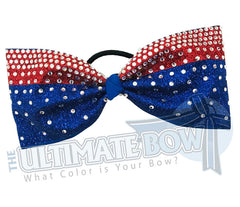 Tailless Full Down Glitter Rhinestone Cheer Bow | rhinestone-glitter-red royal glitter | crystal-clear-rhinestones-just-loops-tailless-no-tails-cheer-bow-full-glitter-cheer bows