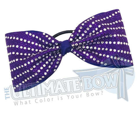 rhinestone-glitter-purple-crystal-clear-rhinestones-just-loops-tailless-no-tails-cheer-bow-full-glitter cheer bows