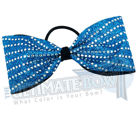 rhinestone-glitter-turquoise_black-crystal-clear-rhinestones-just-loops-tailless-no-tails-cheer-bow-full-glitter cheer bows