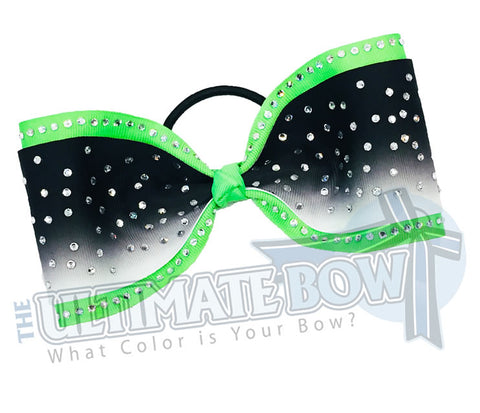 Just-Loops-Tailless-tail-less-no tails-rhinestone-ombre-effect-rhinestone-neon-green-white-black-cheer-bow-cheer-camp-sideline