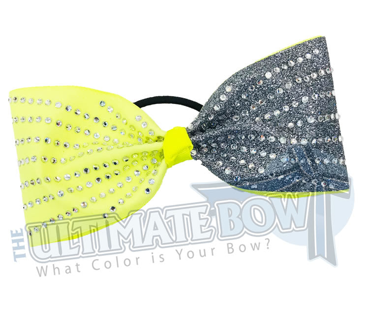 rhinestone-glitter-grey glitter | neon yellow glitter -crystal-clear-rhinestones-just-loops-tailless-no-tails-cheer-bow-full-glitter-cheer bows