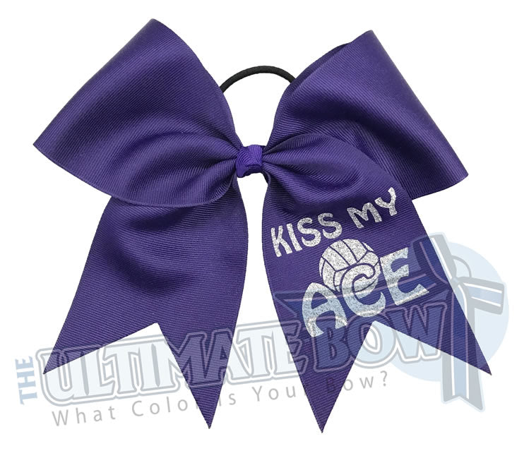 Kiss My Ace Volleyball Bow | Purple Volleyball Bows