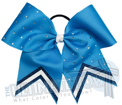 Leader of the Pack Glitter V Cheer Bow | High School Cheer Bow | Rhinestone Glitter Cheer Bow | Columbia Blue and Navy Cheer Bow