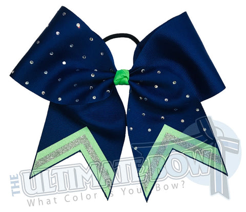 Leader of the Pack Glitter V Cheer Bow | High School Cheer Bow | Rhinestone Glitter Cheer Bow | Royal Blue and Neon Green Cheer Bow | Seahawks Cheer Bow