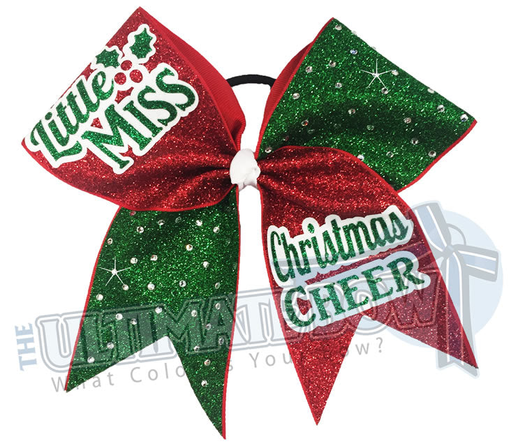 Christmas Cheer.Little Miss Christmas Cheer Christmas Glitter Rhinestone Bow