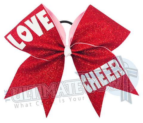Love CHEER - Red Glitter Cheer Bow
