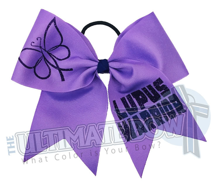 Lupus Warrior - lupus awareness cheer bow - lupus awareness butterfly - Lupus Purple Bow - social awareness cheer bows