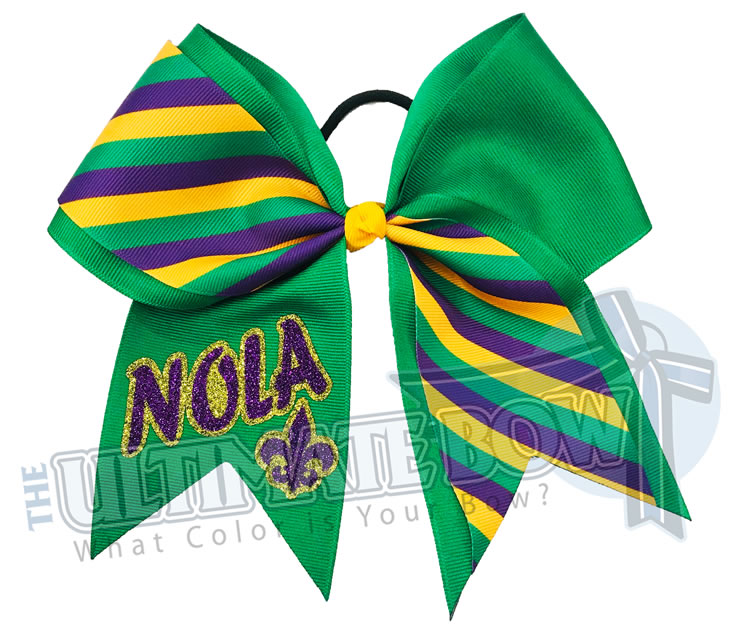 mardi gras cheer bow | Mardi Gras Stripes | NOLA Cheer Bow | Fluer de Lis | Emerald Purple Yellow Gold