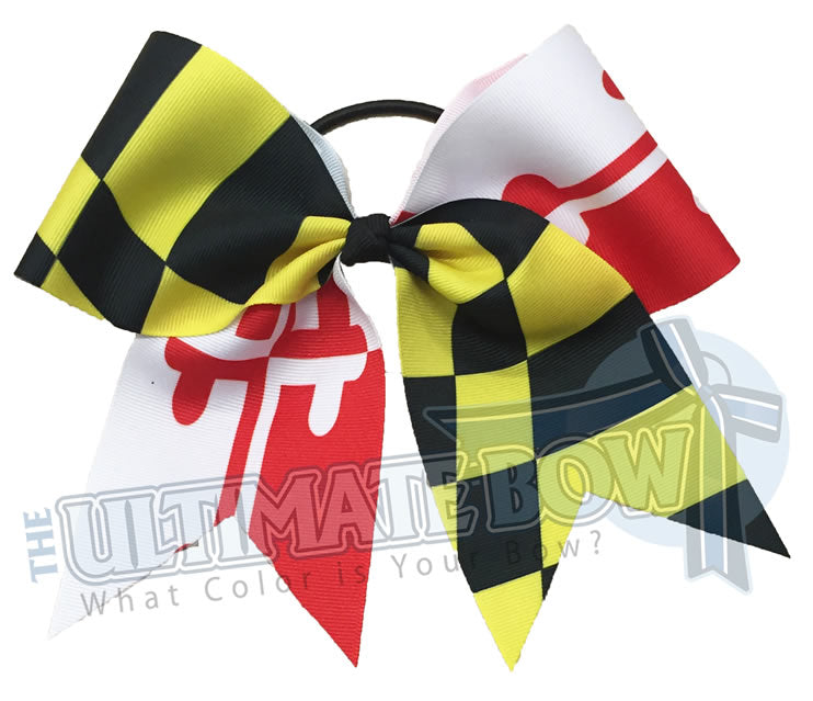 Maryland-State-Flag-Red-Yellow-Gold-Baltimore-Cheer-Bow-Softball-Terrapins