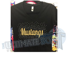 Mustang-Football-cheer-mom-rhinestone-v-nekc-tshirt-t-shirt-top-black-maroon -white-gold-glitter