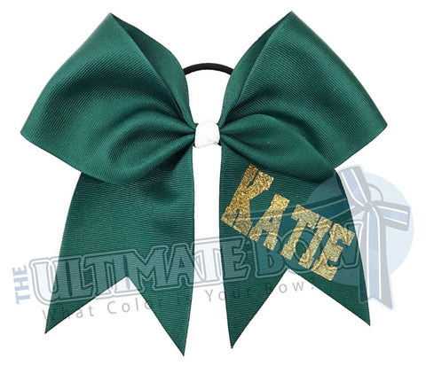 personalized cheer bow | my bow | Gold glitter | forest green ribbon | softball | Sports hair bow | Varsity Font