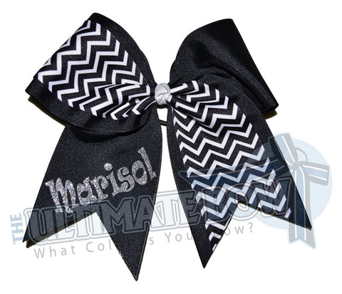 Superior-my-chevron-cheer-bow-black-white-silver-glitter-personalized