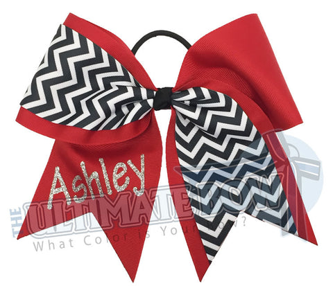 Superior-my-chevron-cheer-bow-red-black-white-silver-glitter-personalized