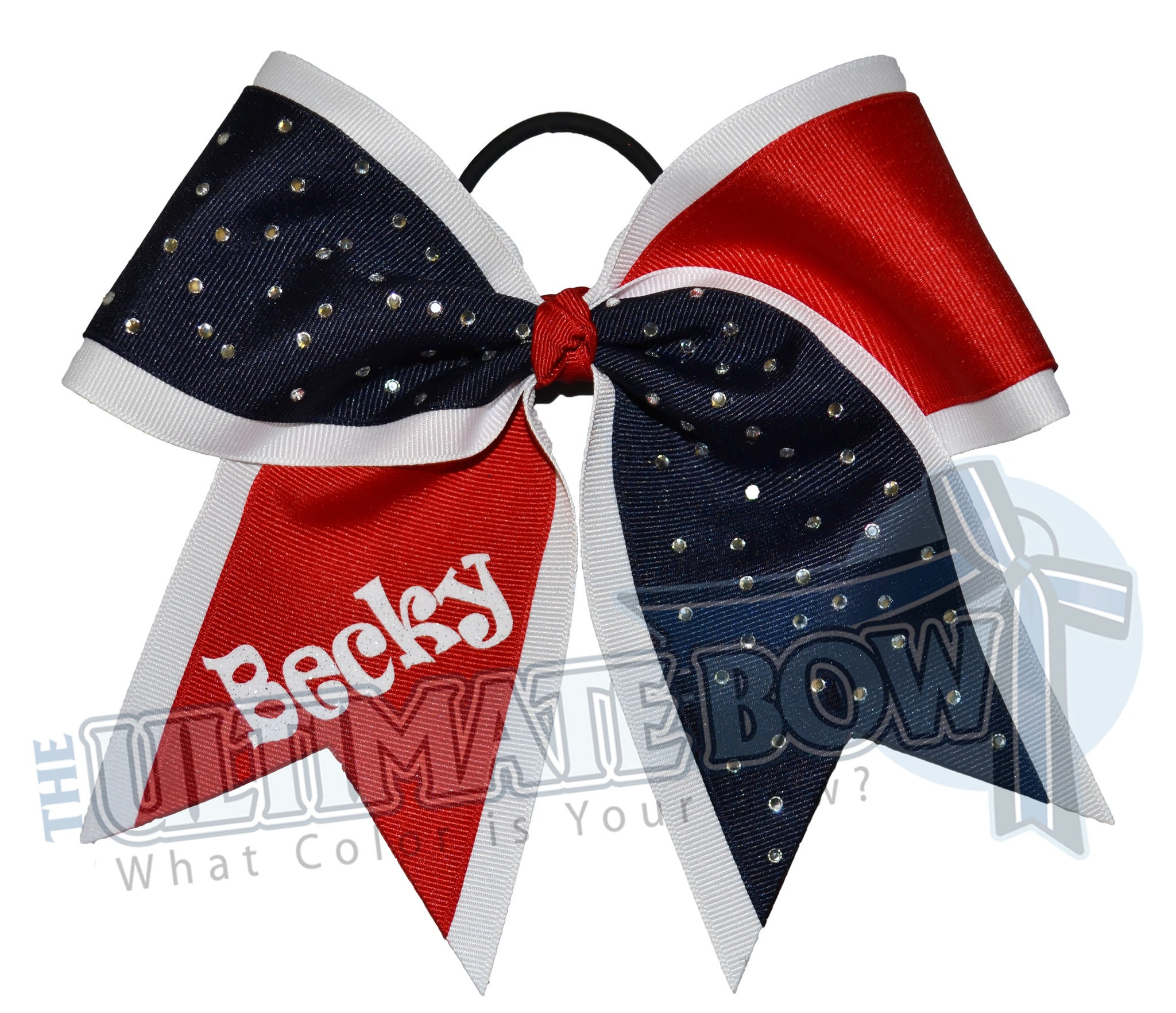 My Sparkling Rhinestone Cheer Bow | Personalized Rhinestone Cheer Bow | Personalized Softball Hair Bow | Black Red White Cheer Bow