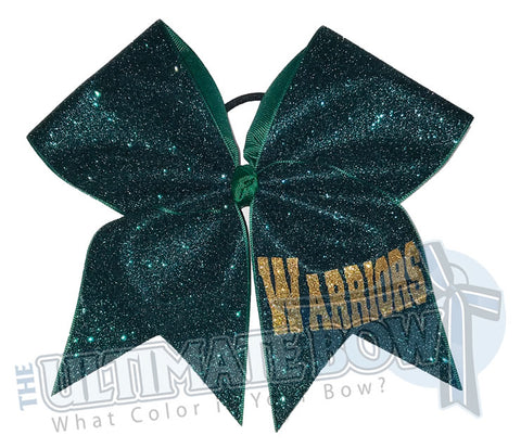 My Superior Glitter Bow | Personalized Glitter Cheer Bow | Forest Green and Gold Cheer Bow | Name on Cheer Bow