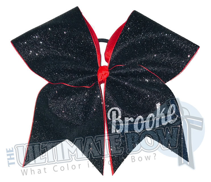 My Superior Glitter Bow | Personalized Glitter Cheer Bow | Black and Red Cheer Bow | Name on Cheer Bow