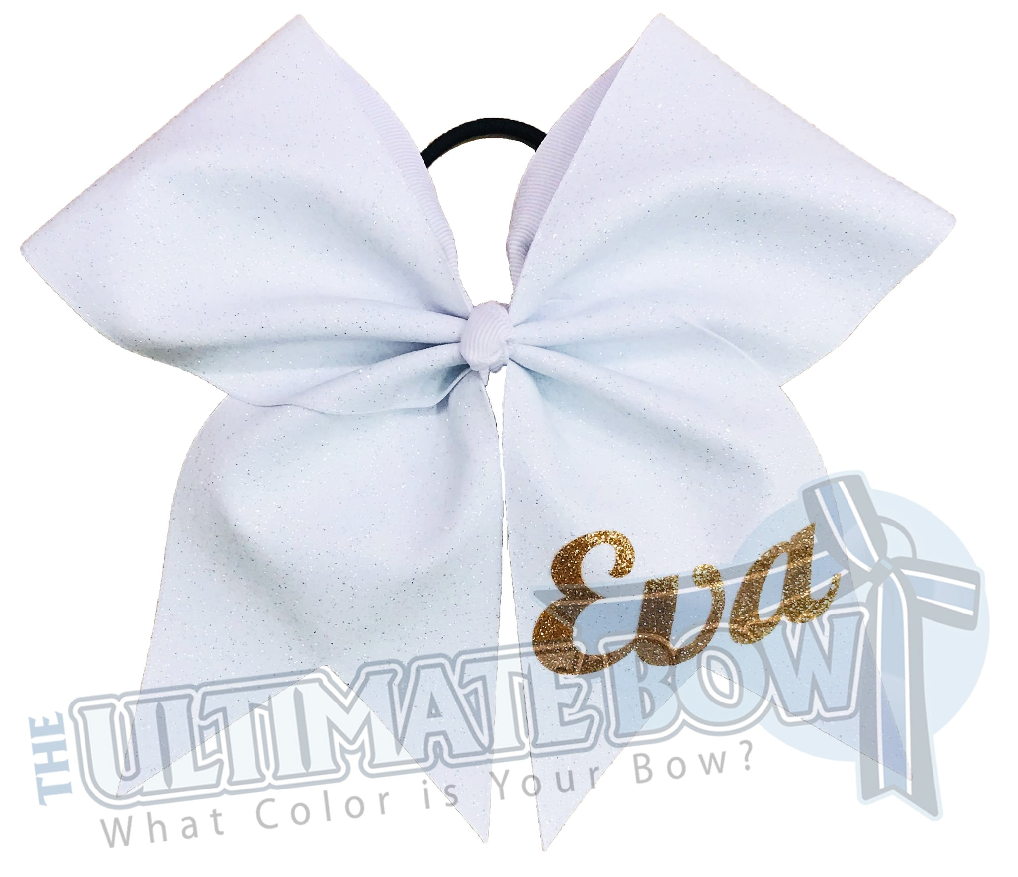 My Superior Glitter Bow | Personalized Glitter Cheer Bow | White and Gold Cheer Bow | Name on Cheer Bow