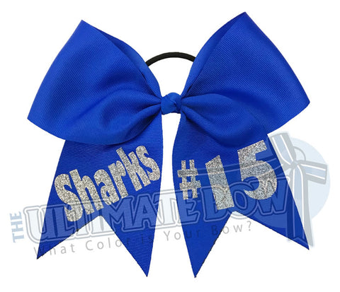 Name and Number Hair Bow | Personalized Team Softball Bows | Team Name | Player Number | Electric Blue Ribbon | Silver Glitter | Personalized