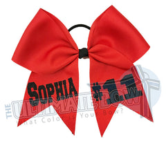 Name and Number Hair Bow | Personalized Team Softball Bows | Team Name | Player Number | Red Ribbon | Black Glitter | Personalized