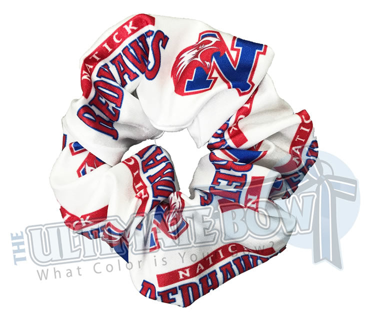custom printed scrunchies | sublimate scrunchies | logo scrunchies | two color logos | Natick Redhawks