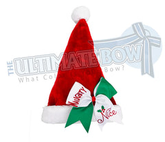 Naughty Nice Plush Santa Hat | Cheer Bow Santa Hat | Naughty Nice Cheer Bow