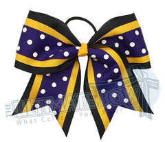 superior-sprinkle-dots-white-purple-black-yellow-gold-polka-dots-cheer-bow-oconomowoc-varsity