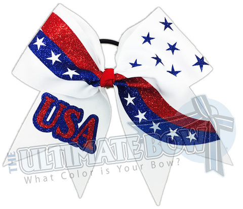 Patriotism - Red, White and Blue Cheer Bow | USA Hair Bow | USA Glitter Cheer Bow