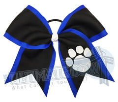 Texas sized-glitter-paw-print-cheer bow-softball bow-electric blue royal blue black-paw prints mascot lions tigers bears panthers cougars bulldogs