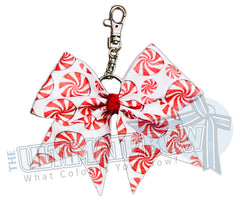 Christmas Key Chain | Glitter Peppermint Key Chain | Key Chain Bow | Cheer Bow Key Chain | red and white peppermint key chain
