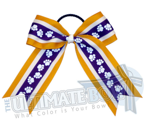 playful-paw-print-ribbon-cheer-bow-purple-yellow-gold