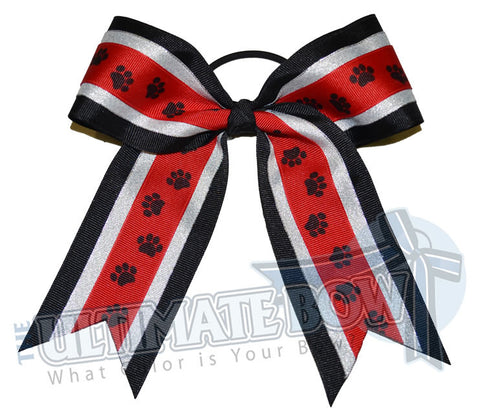 playful-paw-print-ribbon-cheer-bow-black-red-metallic-silver