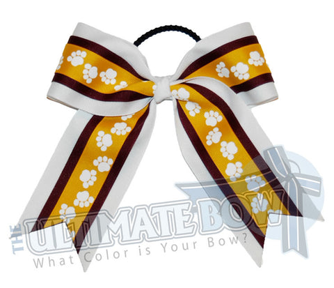 playful-paw-print-ribbon-cheer-bow-maroon-yellow-gold-white
