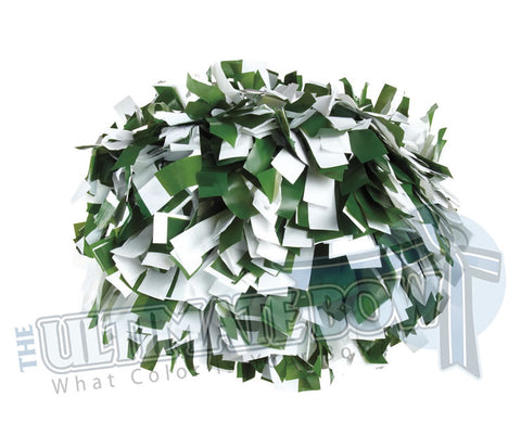 Cheerleader Poms | Pom Poms | Football Poms | Forest Green and White Pom Poms | Cheer Poms | Pom Pons