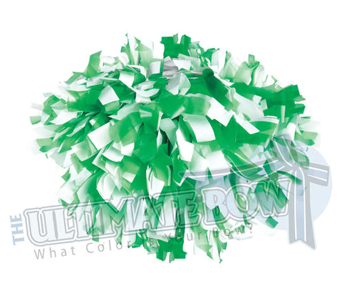 Cheerleader Poms | Pom Poms | Football Poms | Kelly Green and White Pom Poms | Cheer Poms | Pom Pons