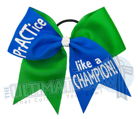 Practice like a Champion-glitter-practice-cheer-bow-softball-bow-practice-bow - emerald - electric blue