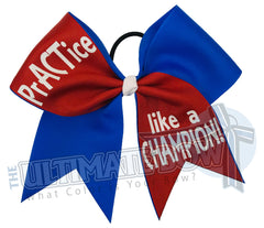Practice like a Champion-glitter-practice-cheer-bow-softball-bow-practice-bow - red - electric blue