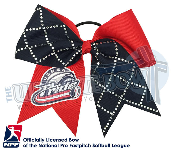USSSA-Pride-Hair-bow-softball-licensed-turn-two-official-logo-professional-softball-NPF-National_Pro_Fastpitch-Softball-League-rhinestone